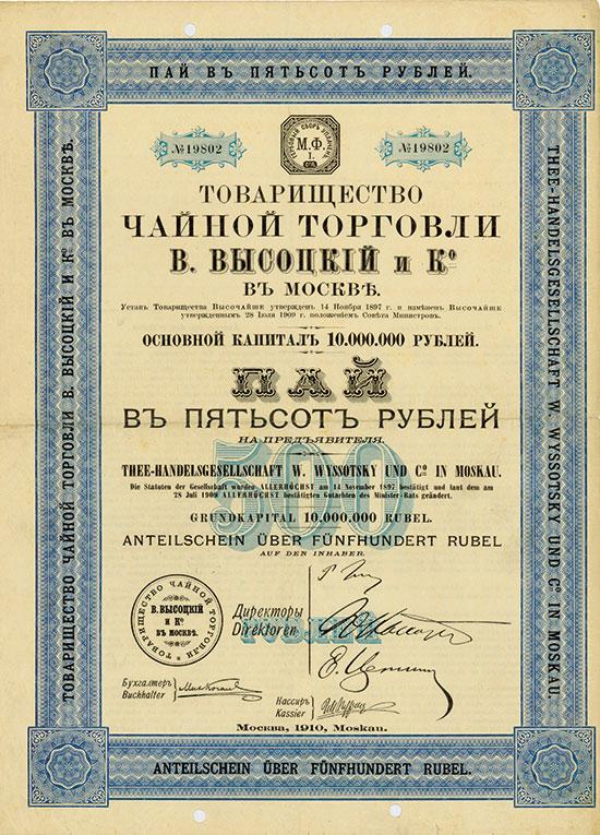 Thee-Handelsgesellschaft W. Wyssotsky und Co. in Moskau