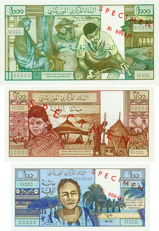 Mauretania - Banque Centrale de Mauritanie - Pick 1s, 2s, 3s - Linzmayer B101as, B102as, B103as