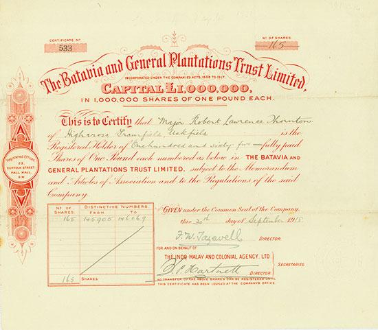 Batavia and General Plantations Trust Limited