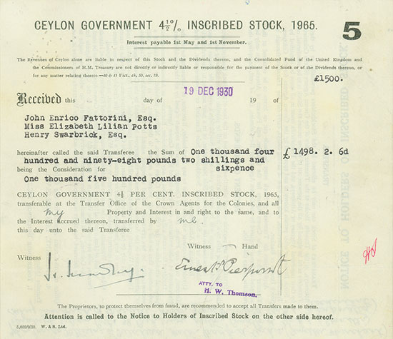 Ceylon Government 4,5 % Inscribed Stock, 1965