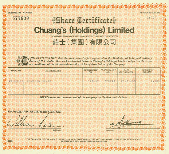 Chuang's (Holdings) Limited