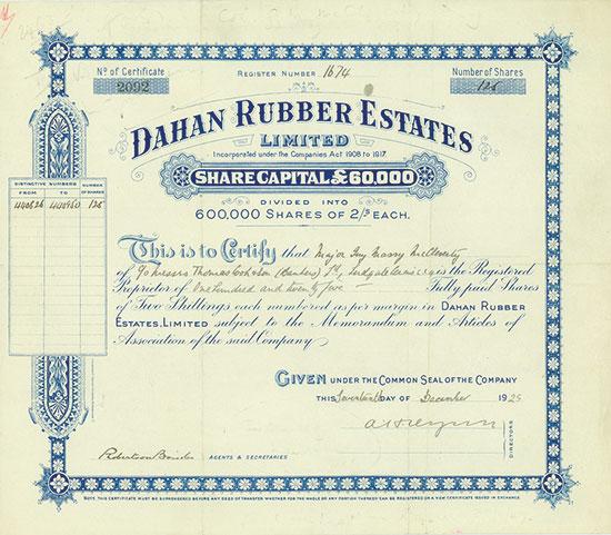 Dahan Rubber Estates, Limited