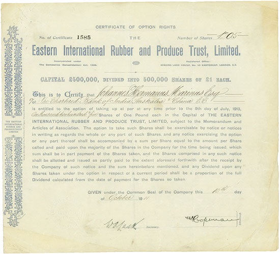 Eastern International Rubber and Produce Trust, Limited