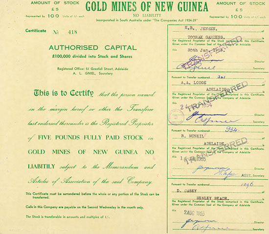 Gold Mines of New Guinea No Liability