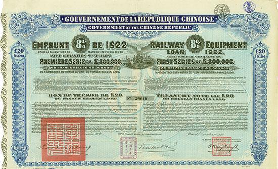 Gouvernement de la République Chinoise - Railway Equipment Loan (Kuhlmann 640)