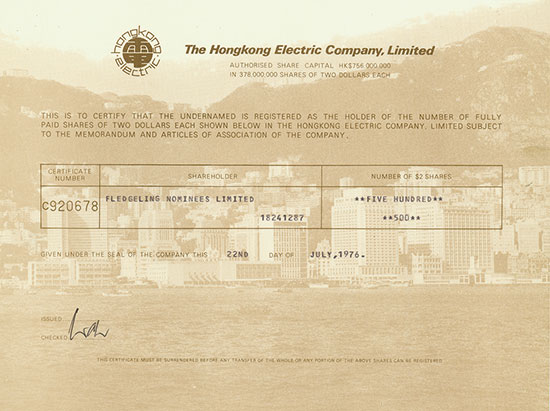 Hongkong Electric Company, Limited