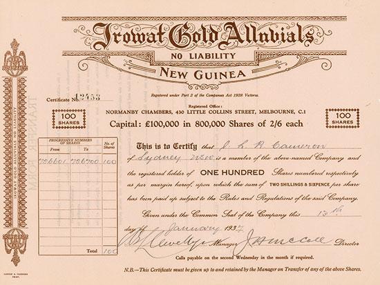 Irowat Gold Alluvials No Liability
