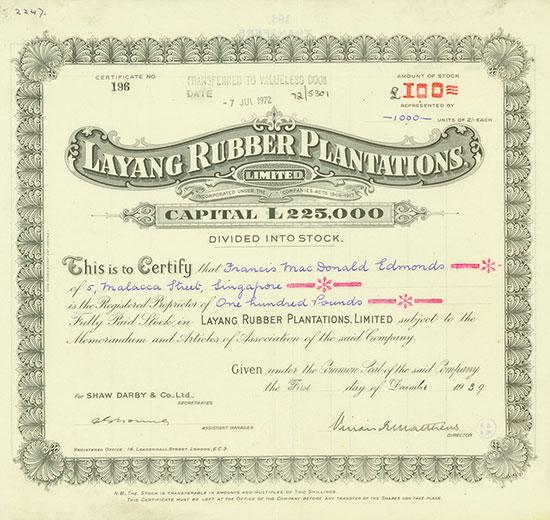 Layang Rubber Plantations, Limited