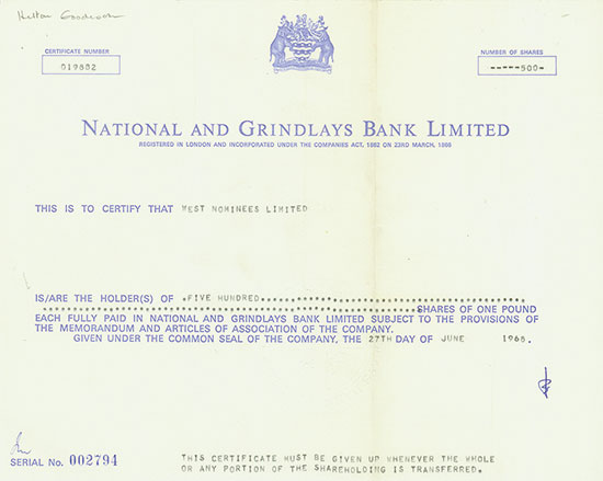 National and Grindlays Bank Limited