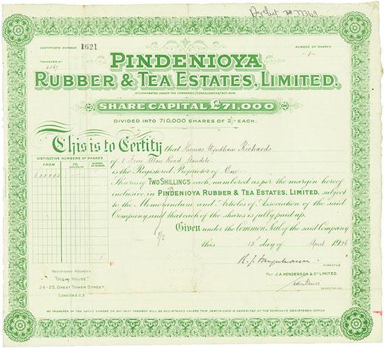 Pindenioya Rubber & Tea Estates, Limited