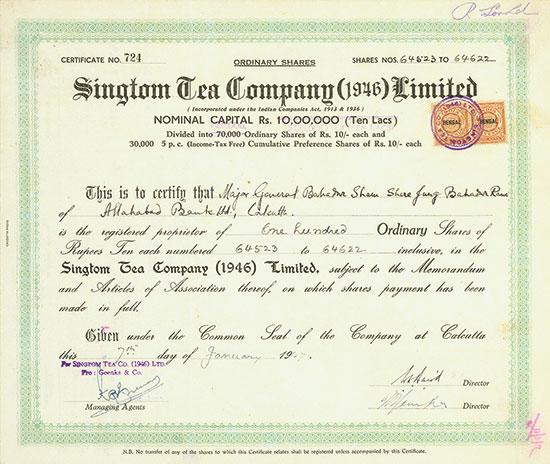 Singtom Tea Company (1946) Limited