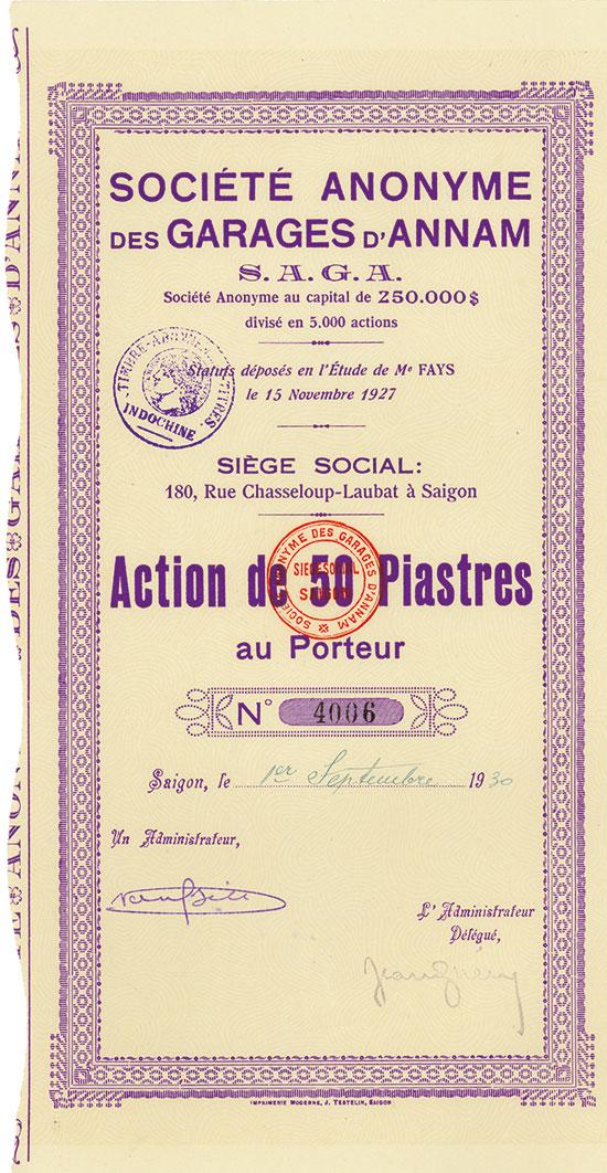 Société Anonyme des Garages d'Annam S. A. G. A.
