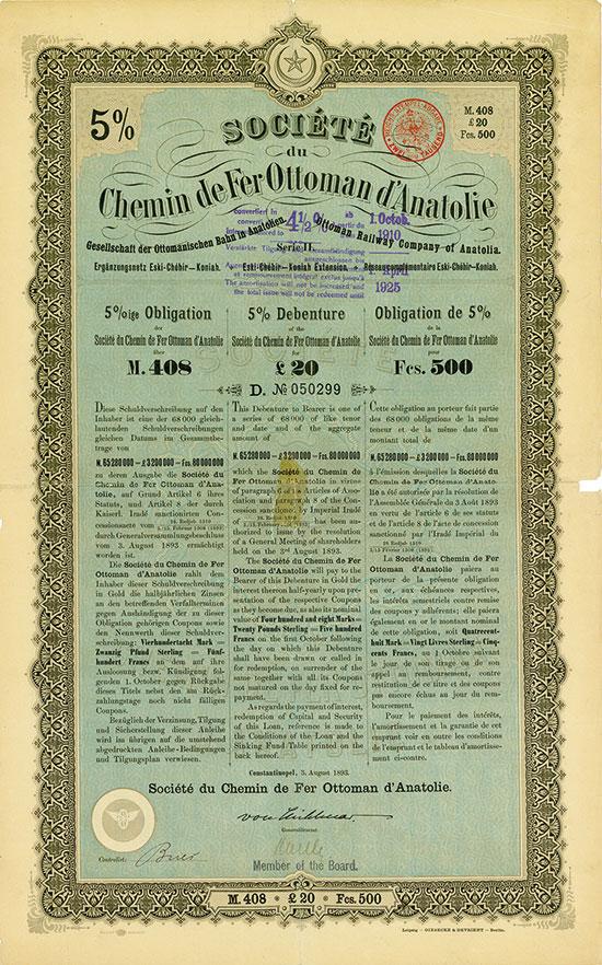 Société du Chemin de Fer Ottoman d'Anatolie (Gesellschaft der Ottomanischen Bahn in Anatolien AG)