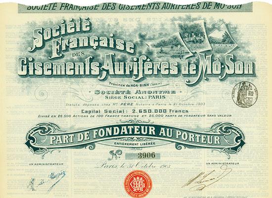 Société Française des Cisements Auriféres de Mô-Son Société Anonyme