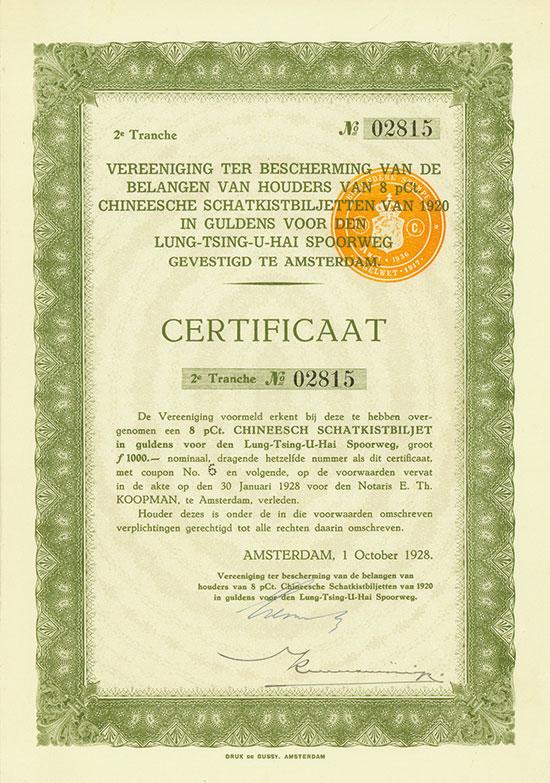 Vereeniging ter Bescherming van de Belangen van Houders van 8 % Chineesche Schatkistbiljetten van 1920 in Guldens voor den Lung-Tsing-U-Hai Spoorweg (Kuhlmann 760 B)