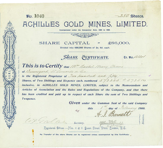 Achilles Gold Mines, Limited