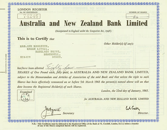 Australia and New Zealand Bank Limited