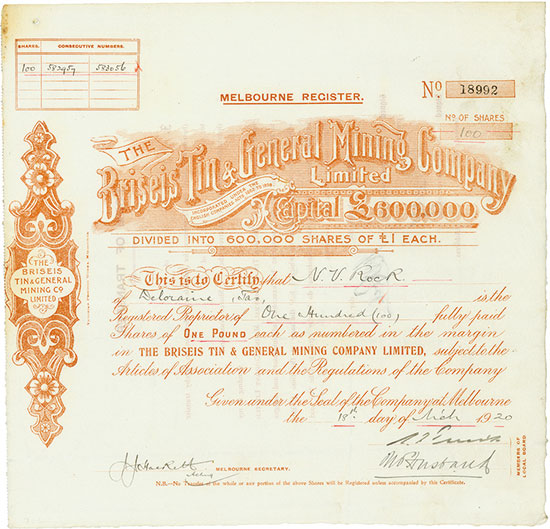 Briseis Tin & General Mining Company Limited