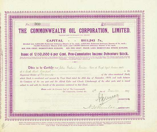 Commonwealth Oil Corporation, Limited