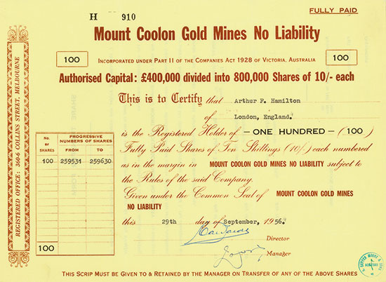 Mount Coolon Gold Mines No Liability