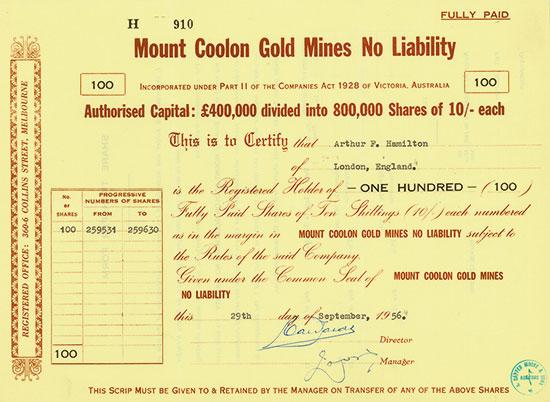 Mount Coolon Gold Mines No Liability