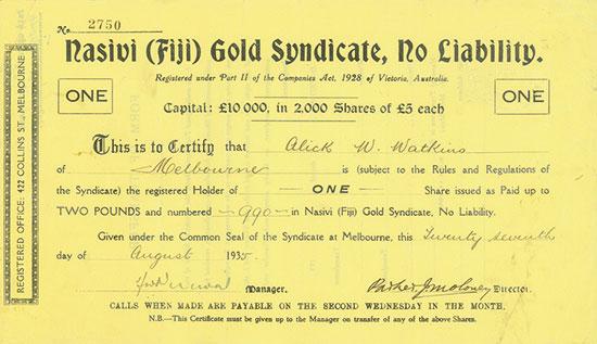 Nasivi (Fiji) Gold Syndicate, No Liability