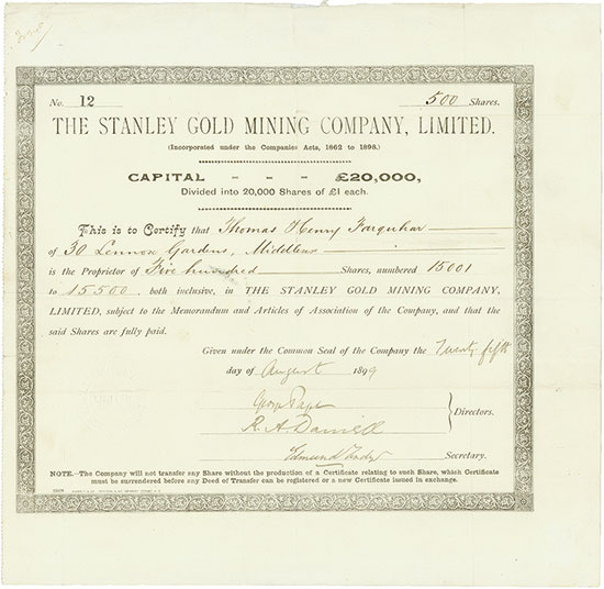 Stanley Gold Mining Company, Limited