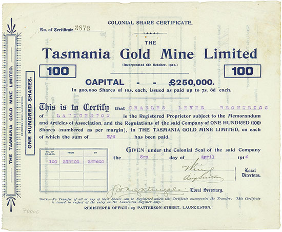 Tasmania Gold Mine Limited