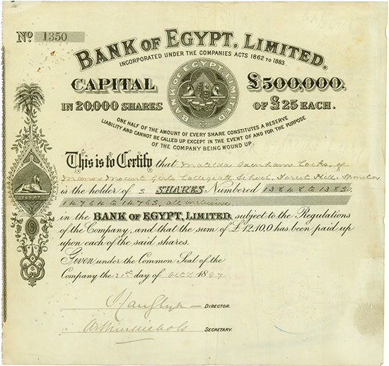 Bank of Egypt, Limited