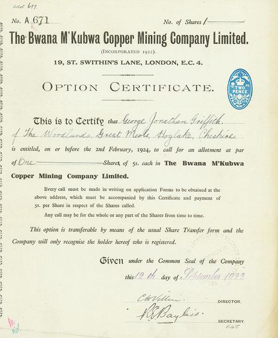 Bwana M'Kubwa Copper Mining Company Limited