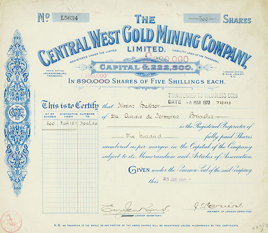 Central West Gold Mining Company, Limited