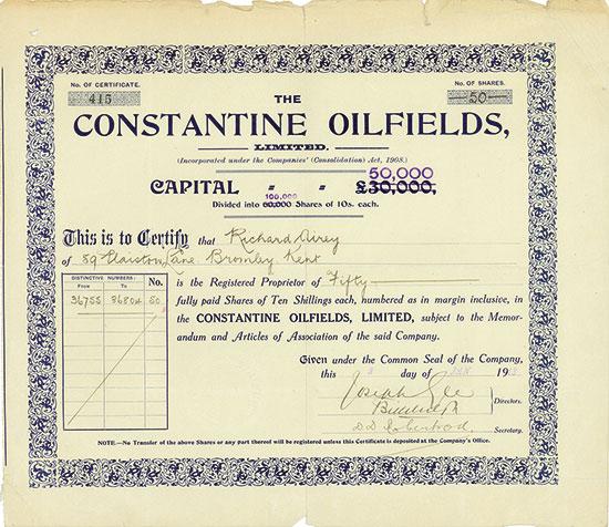 Constantine Oilfields, Limited