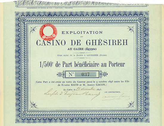 Exploitation du Casino de Ghésireh au Caire