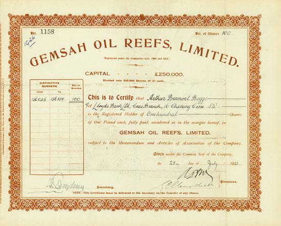 Gemsah Oil Reefs, Limited