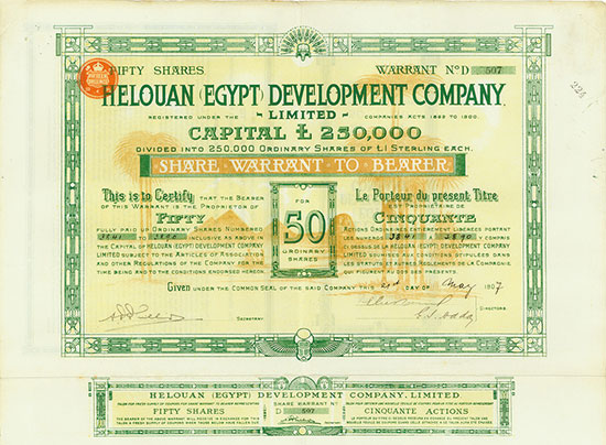 Helouan (Egypt) Development Company, Limited [3 Stück]