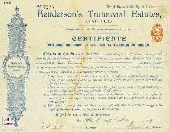 Henderson's Transvaal Estates, Limited