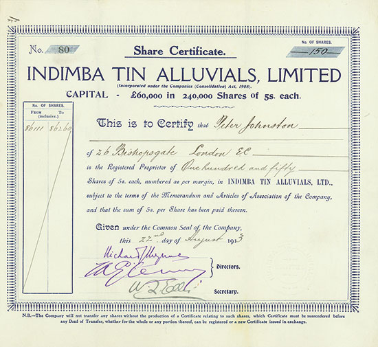 Indimba Tin Alluvials, Limited