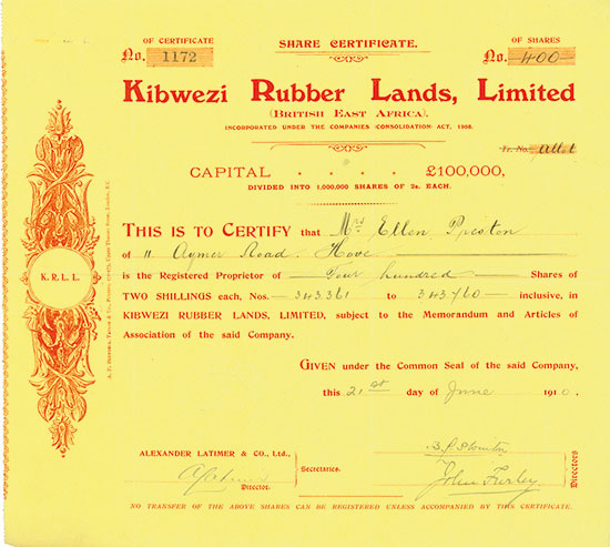 Kibwezi Rubber Lands, Limited (British East Africa)