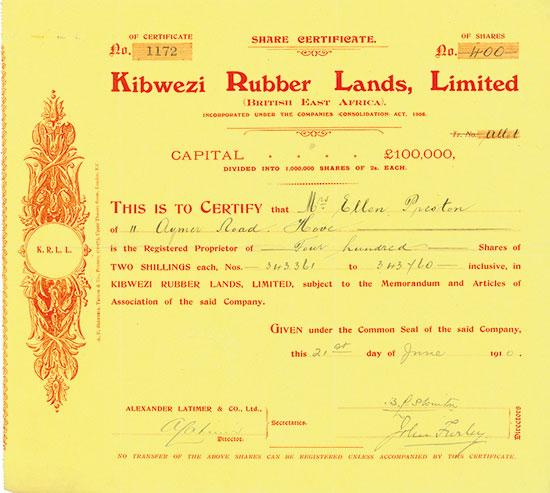 Kibwezi Rubber Lands, Limited (British East Africa)