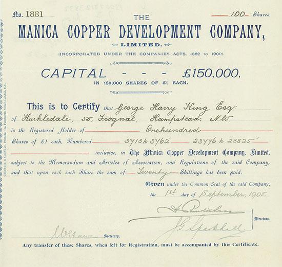 Manica Copper Development Company, Limited