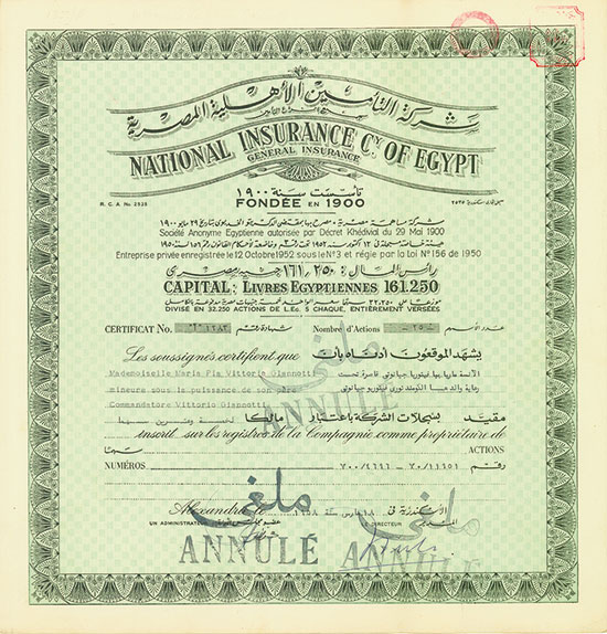 National Insurance Cy. of Egypt