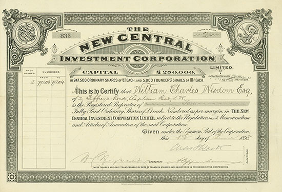 New Central Investment Corporation Limited