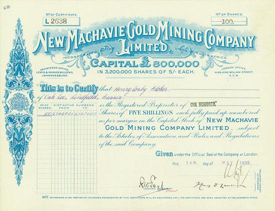 New Machavie Gold Mining Company Limited