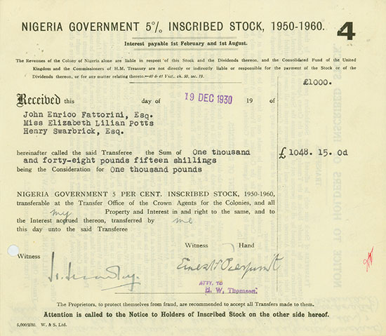 Nigeria Government 5 % Inscribed Stock, 1950 - 1960