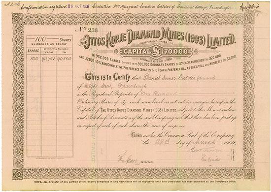 Ottos Kopje Diamond Mines (1903) Limited