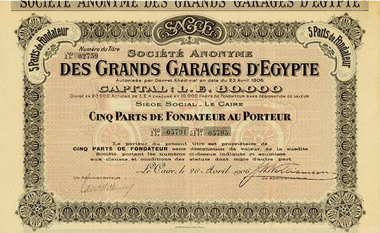 Société Anonyme des Grands Garages d'Egypte [3 Stück]