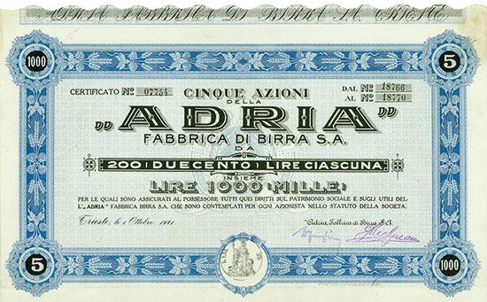 """ADRIA"""" Fabbrica di Birra S. A."""