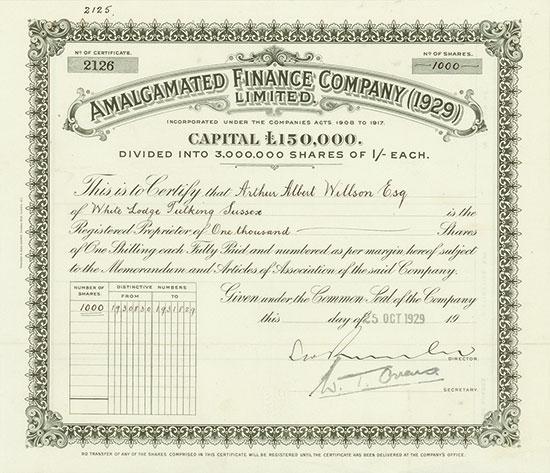 Amalgamated Finance Company (1929) Limited