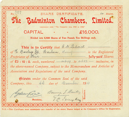 Badminton Chambers, Limited