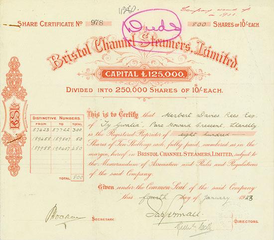Bristol Channel Steamers, Limited
